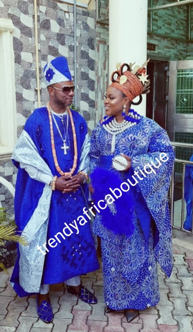 Royal Blue beaded and swarovaski crystal stoned Aso-oke set. Custom-made design. Make-to-order only. Aso-oke set for man and woman. Can be order for individual only or complet set for couple. 6-8 weeks for production. Nigerian Traditional wedding outfit
