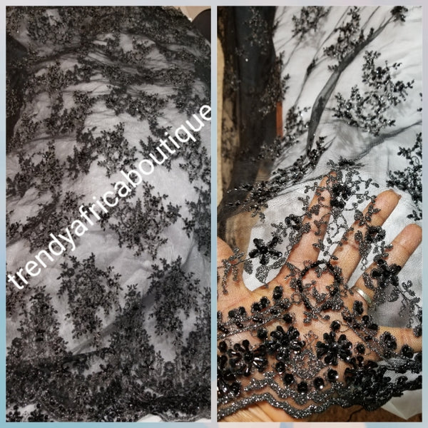 Sale: Soft Black/black beaded and stoned net French lace fabric for making Blouses for wrapper. Igbo/Delta/Edo women blouse fabric. This is about 2yrds total piece for sale. Can be use to combination style