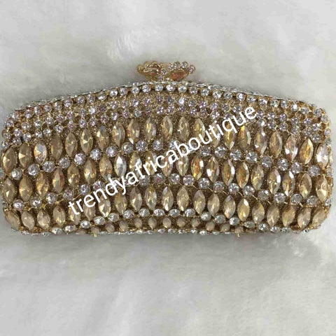 "Sale Quality evening hand clutch. Crystal Clutch/purse. 8"" long x 5"" wide. All over dazzling crystal stones. Gold crystal stones"