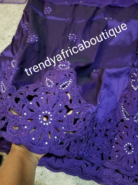 New arrival quality Purple embriodery/crystal stones silk George with matching net for blouse combination. Top Quality Indian-George for making Nigerian/African party dress. 5yds +1.8yds blouse. aso-ebi order available,