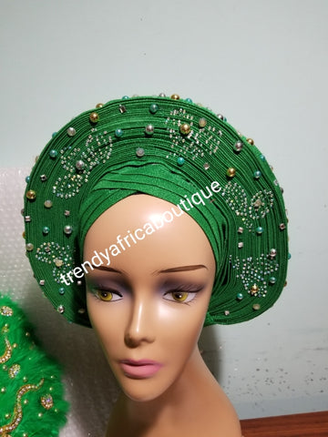 Clearance: Ready to ship Nigerian Green auto-gele. Wahala free gele all ready made for you with quality aso-oke from mother land. Embellished with beads and stones.
