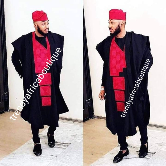 Agbada set for men. made-to-order Nigerian Traditional embriodered quality senator material set for Men/Groom. Custom-made design. Can be produce in any color combinations of your choice. 4pcs set agbada, inner top and bottom + cap. set.