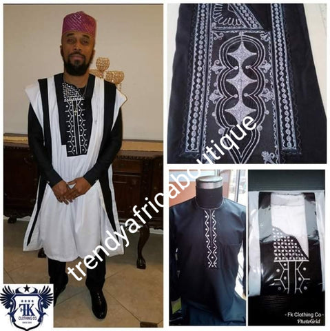 Black/white Agbada set for men. made-to-order Nigerian Traditional embriodered quality senator material for Men/Groom. Custom-made design. Can be produce in any color combinations of your choice. 4pcs set agbada, inner top and bottom + cap. set.