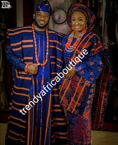 Latest Aso-oke set for Nigerian Traditional ceremonies such as weddings, Royalblue/orange Swarovski stones embellishment. Make-to-order only. Custom-made design. Allow 6-8 weeks for order process. Can produce any color of choice