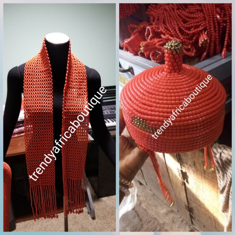 Back in stock: Nigerian Men Traditional wedding coral beaded cap and neck shawl for Edo/Igbo/Delta Groom. Special African wedding Accessories for men.sold together cap + shawl. We Also have beaded-necklace