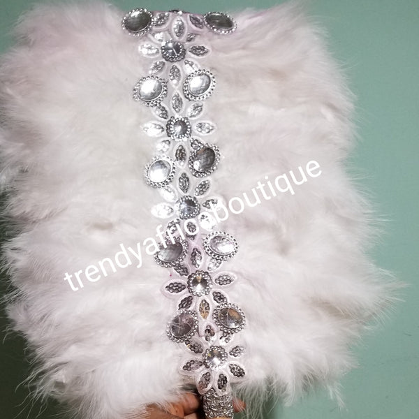 Pure white/silver  Feather hand fan. Large square shape hand fan Nigerian Bridal-accessories front and back design with beads and flower petal. Limited quantity. Very classy
