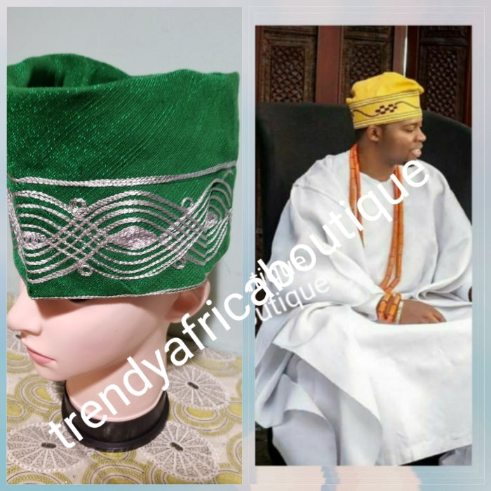 "New arrival Green Nigerian Agbada men-Cap made with Aso-oke with embroidery. Size is 23"", & 24""  inches. Measure your head circumference before you place your order!!"