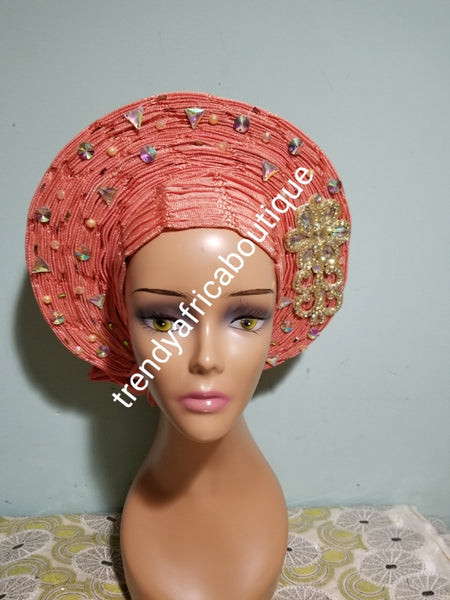 special offer Peach auto-gele made with basket aso-oke. original quality woven in Nigeria. Auto-gele Party ready in less than 5 minutes. One size fit, easy adjustment at the back with inside velcro and simple knot