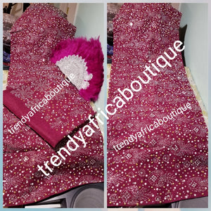 "Bonus Offer magenta bedazzled Aso-oke. 4pc wide Gele with 72"" long Ipele (shoulder shawl). Sold with or without feather fan. Nigerian Celebrant Aso-oke with matching  fila & feather fan from Nigeria. All over Swarovski stone work on gele/ipele"