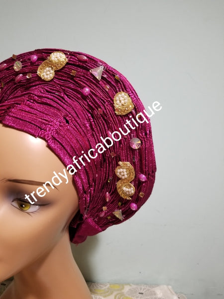 Magenta auto-gele made with basket aso-oke. original quality woven in Nigeria. Auto-gele Party ready in less than 5 minutes. One size fit, easy adjustment at the back with inside velcro and simple knot