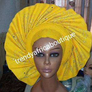 New arrival Sweet Yellow fan auto-gele made with Nigerian woven  aso-oke. Nigeria  gele Party ready in less than 5 minutes. One size fit, easy adjustment at the back