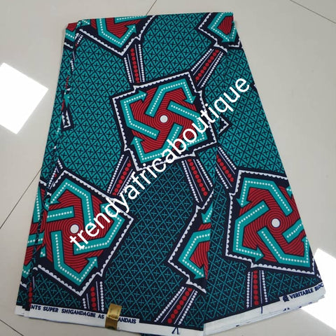 Blue/red  mix 100% veritable cotton Ankara wax print fabric. Sold per 6yds. Price is for 6yds. Soft texture. Excellent quality for making fabulous African outfit