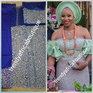 Original quality Royal blue/silver crystal hand stoned VIP celebrant George wrapper for Nigerian Ceremonies such as weddings. Igbo/Niger/ Delta/ wedding George. Set of Net + taffeta+ matching net for blouse. Breath taking crystal work!!!