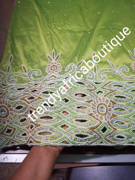 Sale: Quality Lemon Green Taffeta Silk George wrapper: hand cut border beaded and silver crystal stoned for Nigerian traditional wedding/party outfit. Come as 2.5yds+2.5yds +1.8yds matching net for blouse. best Indian-george.