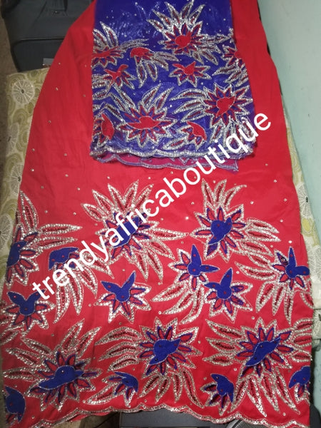 Sale: Quality Red Taffeta Silk George wrapper/ royalblue contrast blouse. hand cut border beaded and silver crystal stoned for Nigerian traditional wedding/party outfit. Come as 2.5yds+2.5yds +1.8yds matching net for blouse. best Indian-george.