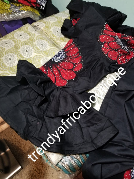 "Latest flower pattern Ankara-kaftan. Embriodered and dazzling Swarovski stones to perfection! SIZE 18: Fit Burst 52"" and full lenght 62"" shoulder to floor. Sleeve 18"". Double flared. Ankara pattern kaftan embriodered and stoned. Long free flowing gown."