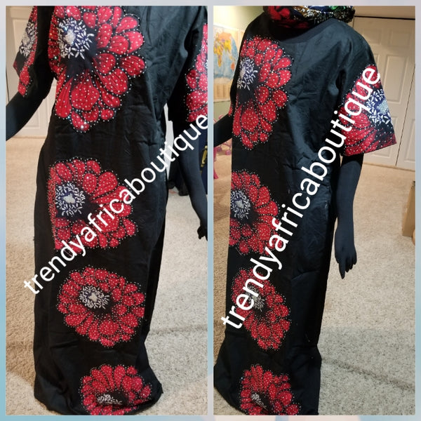 "Latest Ankara-kaftan embellished  with shinning Swarovski stones to perfection! SIZE 16: Fit Burst 46"" and full lenght 60"" shoulder to floor. Short sleeve Ankara patch kaftan embriodered and stoned. Latest Ankara Kaftan dress"