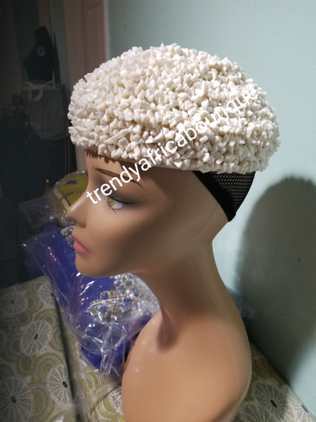 Ivory color Nigerian Traditional wedding Bridal Beaded cap. Edo/Igbo Bridal Accessories of  cap. Use for Edo/igbo/delta  traditonal wedding/ceremony. Size 22, Standard head circumference for women