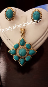 18k Gold plated pendant/earrings turquoise set.  Small beautiful pendant set for every day use