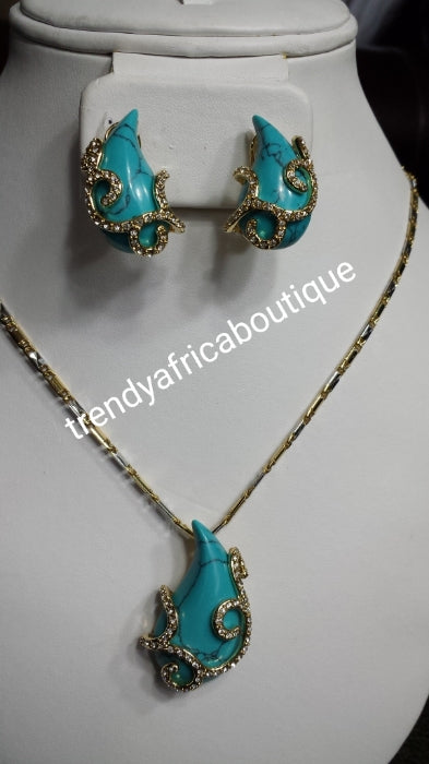 18k Gold plated pendant/earrings turquoise set. Sold with 2 tone neck chain. Small beautiful pendant set for every day use
