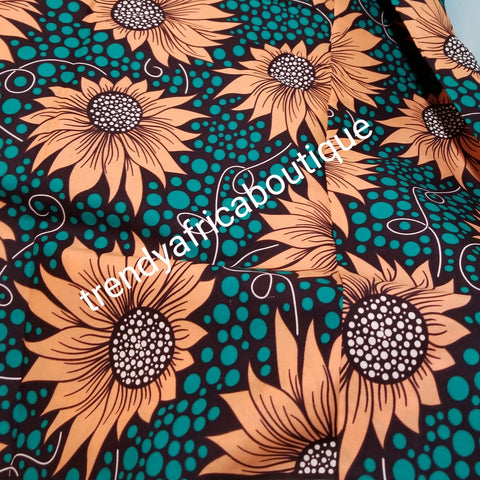 Teal green/peach 100% veritable cotton Ankara wax print fabric. Sold per 6yds. Price is for 6yds. Soft texture. Excellent quality for making fabulous African outfit