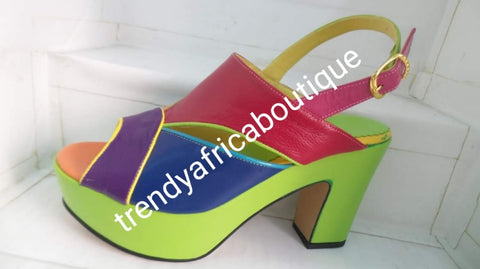 "Sale, Sale Multi color Made in Italy platform shoe. Side buckle sandal. Size 39. Original Italian Leather shoe. 4"" heel, Sweet color mix Green/Red/purple/blue"
