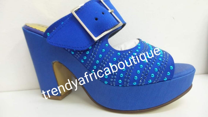 "Sale, Sale Royal blue Made in Italy platform sandal/shoe. Side buckle sandal  Size 39. Original Italian Leather shoe. 4"" heel, crystal stone design"