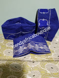 Royal blue embriodery Aso-oke men-cap for Native wear. Nigerian Traditional native cap for men. Agbada cap for men