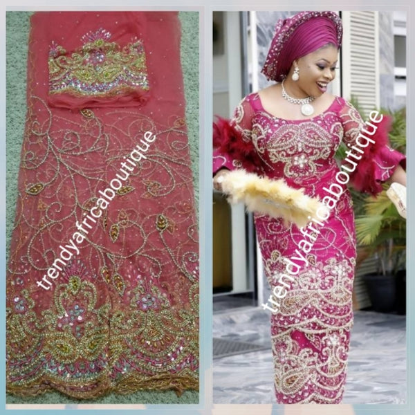 Sale: New arrival Coral color VIP Madam Net George wrapper for Nigerian big event. all hand stoned 5yds net + 1.8yds matching net  for blouse. Nigerian Traditional Celebrant Net George. Sold as a set.