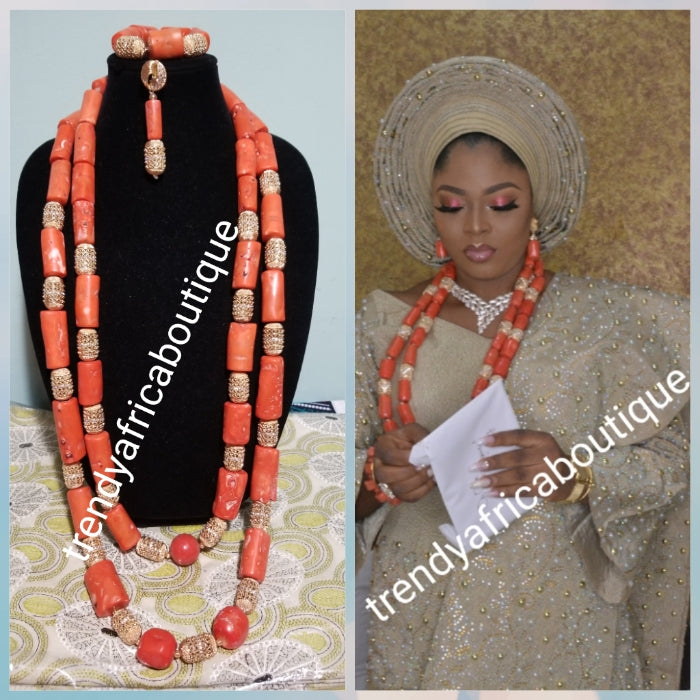 Back in stock: Nigerian traditional wedding Edo Coral beaded necklace set in 2 long rows with earrings and bracelet. coral-necklace Sold as a set. Original edo beads for ceremony