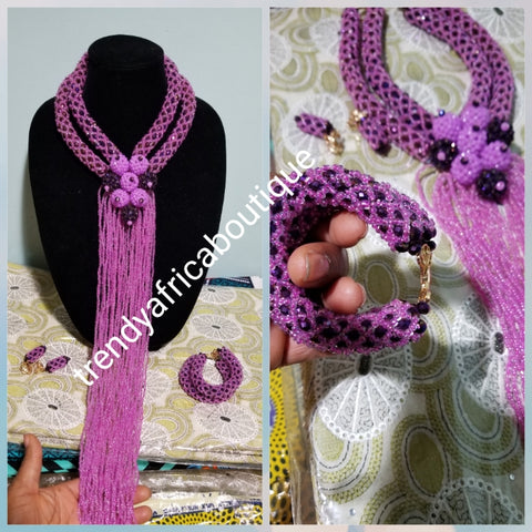 Clearance Purple/lilac 2 row choker beaded necklace with long droppings. Exclusive design for Nigerian/African weddings. Coral-necklace