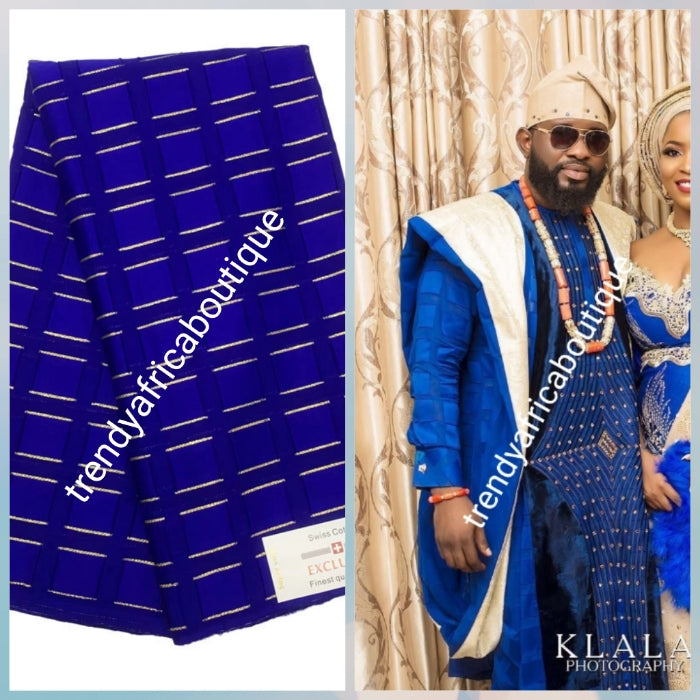 Lustrous quality royal blue Atiku swiss voile lace fabric for Nigerian Men native outfit. Soft texture fabric with beautiful embriodery, Can be use for agbada/3pc outfit for men. Sold per 5yds. Price is for 5yds. Men traditionally wedding outfit