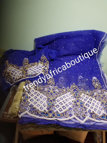 Clearance Net George: Nigerian VIP net Beaded and  Hand stoned George wrapper. .  5yes + 1.8yds matching net blouse. Sold as a set. Beautiful Royal blue net George