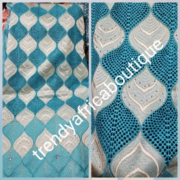 Special offer with matching headtie + Original Swiss Embriodery Lace fabric embellished with clear crystal stones. White/turquoise blue. Great quality and texture. Sold per 5yds. Price is for 5yds