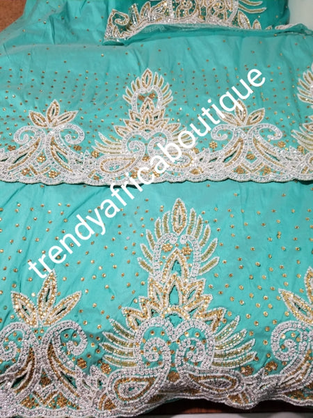 Sale sale; Mint green taffeta George. Nigerian Traditional wedding George wrapper. Embellished with Beads and crystal stones 2.5yds + 2.5yds + 1.8 matching net blouse. Igbo/delta bride outfit.  Small-George. Ideal for bride 1st outing dress