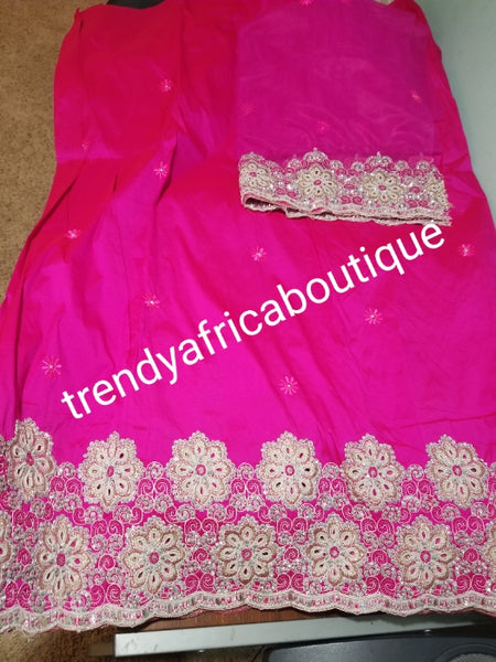 Sale: New arrival Nigerian Tranditional wedding George wrapper. Embellished with quality dazzling beads/crystal stones. Classic fuschia pink. Full 5yds + 1.8yds matching blouse + free headtie. Indian-George. Model shown wearing similar fabric