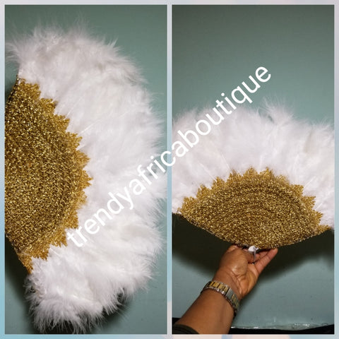 Pure White/gold Feather hand fan. Small moon shape hand fan Nigerian  Bridal-accessories front and back design same. Small handle to hold your fan. Very classy