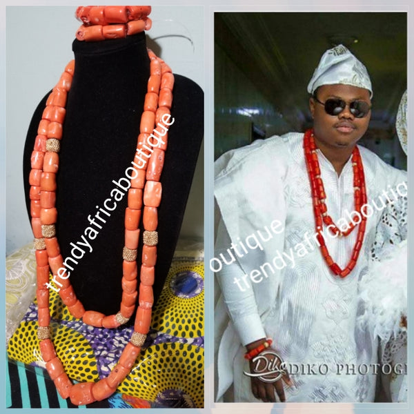 Make-to-order Big Chunky Edo Coral beads. Original Edo coral bead set for men or women use. 2 long row with gold accent + 2 bracelet all sold together. Coral-necklace set for that special occasion allow 6 to 8 weeks to arrive.