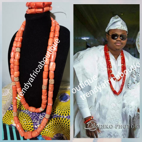 Back in stock: Big Chunky Edo Coral beads. Original Edo coral bead set for men or women use. 2 long row with gold accent + 2 bracelet all sold together. Coral-necklace set for that special occasion such as traditional wedding.