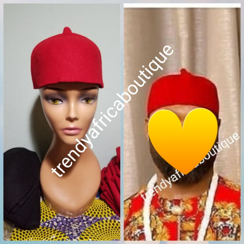 Igbo title man Red cap for youth.  Beautiful suade cap (Aka) Special African wedding Accessories for men. Available in size 20, 22 head circumference.