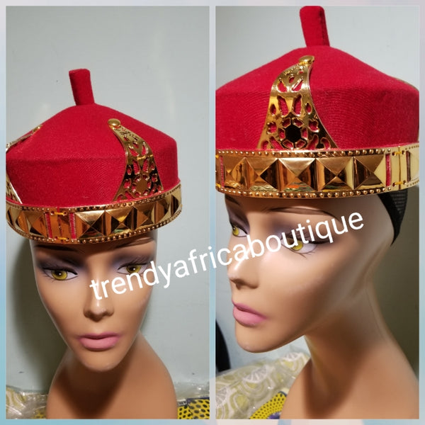Red Igbo Traditional cap (Aka Cap) for ceremonies. Men-cap in red. Igbo Chief cap