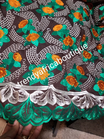 Special sale: Superior quality swiss lace fabric  brown /green multi color flower lace.  Nigerian traditional celebrant Swiss quality embriodery lace. soft beautiful design. Sold per 5yds