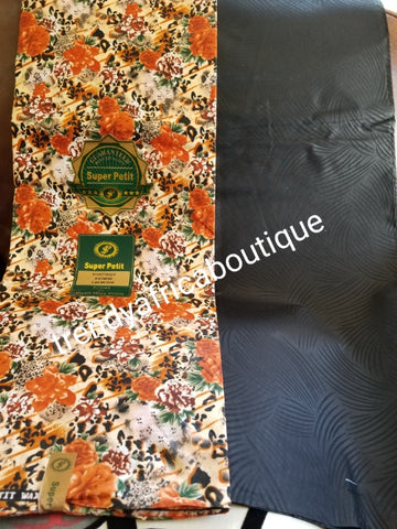 New arrival 4yds flower Ankara + 2yds plain combinations. Latest African  wax print fabric. Black  color mix poly cotton. AFRICAN wax print sold per 6yds. Price is for 6yds.