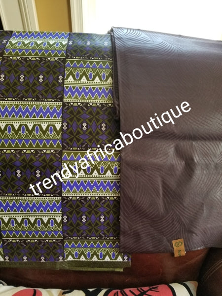 New arrival 4yds flower Ankara + 2yds plain combinations. Latest African  wax print fabric. Chocolare brown  color mix poly cotton. AFRICAN wax print sold per 6yds. Price is for 6yds.