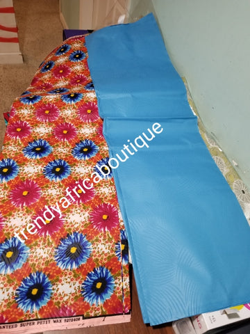 New arrival 4yds flower Ankara + 2yds plain combinations. Latest African  wax print fabric. Turquoise blue color mix poly cotton. AFRICAN wax print sold per 6yds. Price is for 6yds.