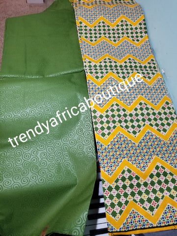 New arrival 4yds flower Ankara + 2yds plain combinations. Latest African  wax print fabric. Green color mix poly cotton. AFRICAN wax print sold per 6yds. Price is for 6yds.