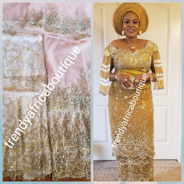 Super quality sweet peach  VIP Madam Net George wrapper for Nigerian bridal/Celebrant outfit.  all over hand beaded/ stoned 2.5yds+ 2.5yds + 1.8yds matching net for blouse. Happy client Rocking same design in Gold.