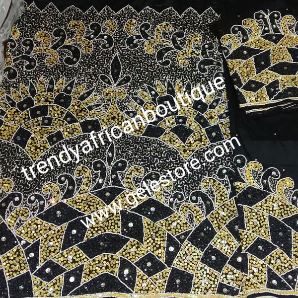Ready to ship: exclusive VIP hand beaded and sequence embellishments Taffeta George wrapper. Nigerian traditional Celebrant outfit. Niger/Delta/Igbo women wrapper. Unique  high society party outfit. Sold as set of 2 wrapper +1.8yds blouse
