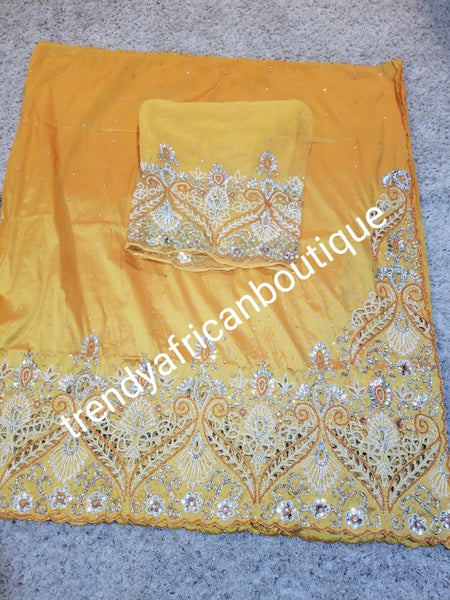Musterd yellow first lady hand beaded and stoned Nigerian traditional George wrapper with matching blouse. Niger/Delta/Igbo women Georges. Quality George wrapper for high society party. Come as 5yds +1.8yds matching net for blouse