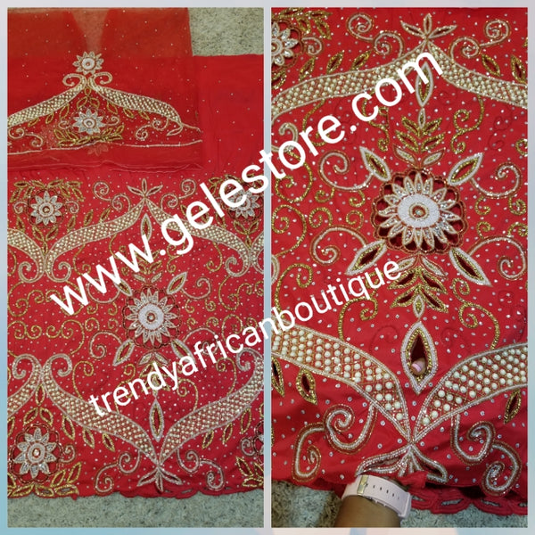 Ready to ship: sale  Red VIP hand beaded and shinning stones Nigerian traditional Celebrant George wrapper with matching blouse. Niger/Delta/Igbo women Georges. Quality George wrapper for high society party. Sold as set of 2 wrapper +1.8yds for blouse